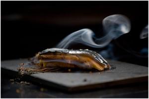 Bizcocho de sardina y foie