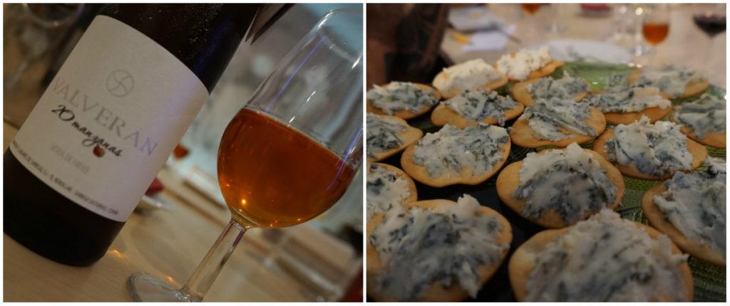 Sidra de hielo Valverán y tostas de roquefort Papillon Etiqueta Negra