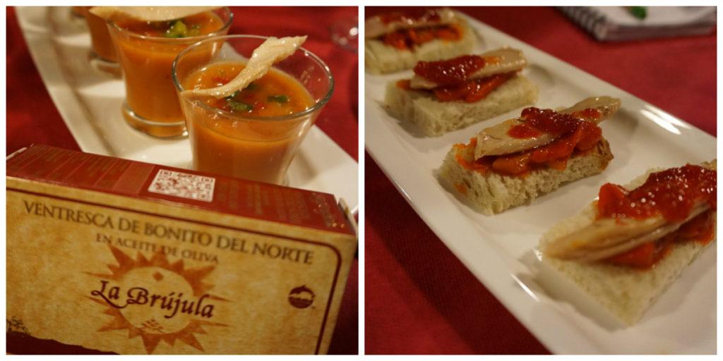 Bloody Mary con ventresca de bonito La Brújula y ventresca de atún con mermelada de pimiento