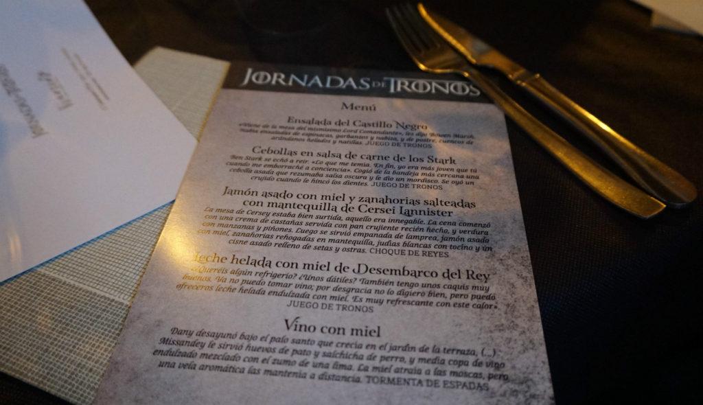 Menú de las Jornadas de Tronos